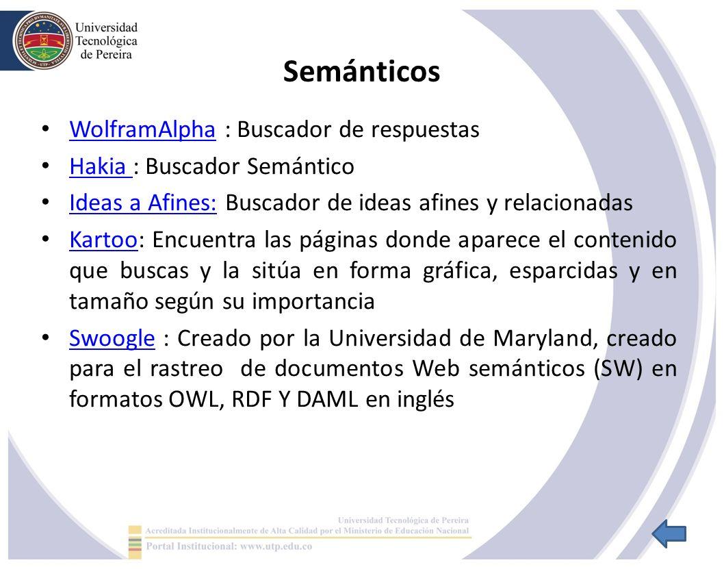 Semánticos WolframAlpha : Buscador de respuestas WolframAlpha Hakia : Buscador Semántico Hakia Ideas a Afines: Buscador de ideas afines y relacionadas Ideas a Afines: Kartoo: Encuentra las páginas donde aparece el contenido que buscas y la sitúa en forma gráfica, esparcidas y en tamaño según su importancia Kartoo Swoogle : Creado por la Universidad de Maryland, creado para el rastreo de documentos Web semánticos (SW) en formatos OWL, RDF Y DAML en inglés Swoogle