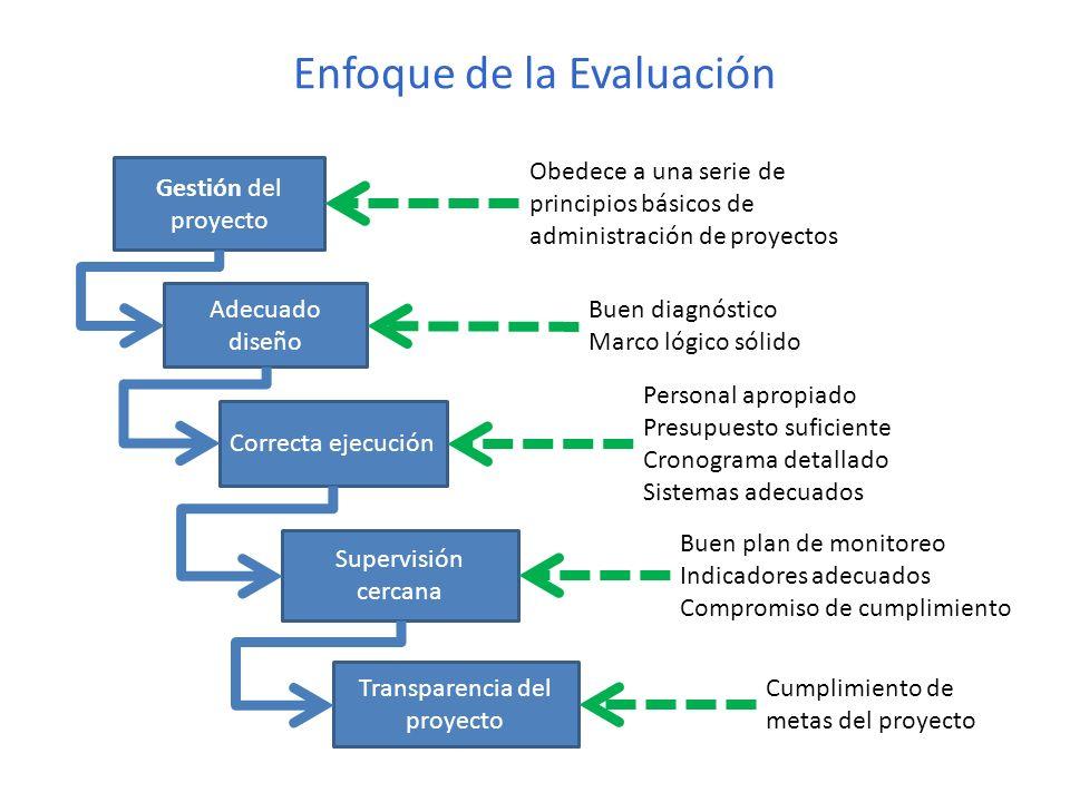 Enfoque de la Evaluación Gestión del proyecto Obedece a una serie de principios básicos de administración de proyectos Adecuado diseño Buen diagnóstic