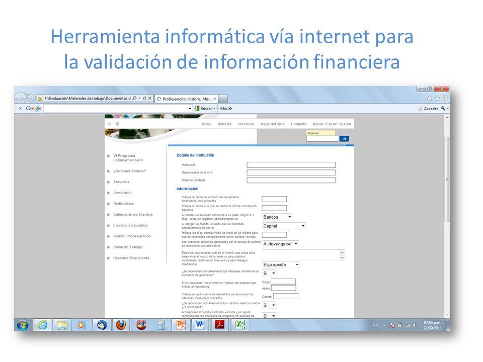 Herramienta informática vía internet para la validación de información financiera