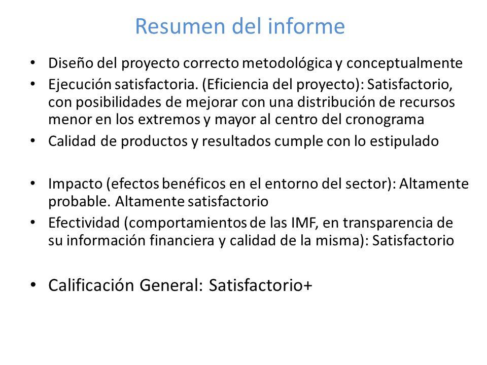 Resumen del informe Diseño del proyecto correcto metodológica y conceptualmente Ejecución satisfactoria.