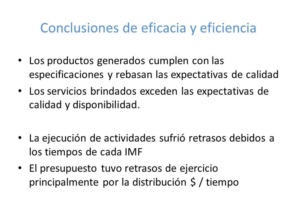 Conclusiones de eficacia y eficiencia Los productos generados cumplen con las especificaciones y rebasan las expectativas de calidad Los servicios brindados exceden las expectativas de calidad y disponibilidad.