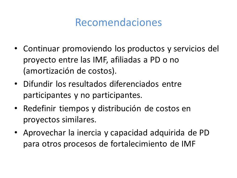 Recomendaciones Continuar promoviendo los productos y servicios del proyecto entre las IMF, afiliadas a PD o no (amortización de costos). Difundir los