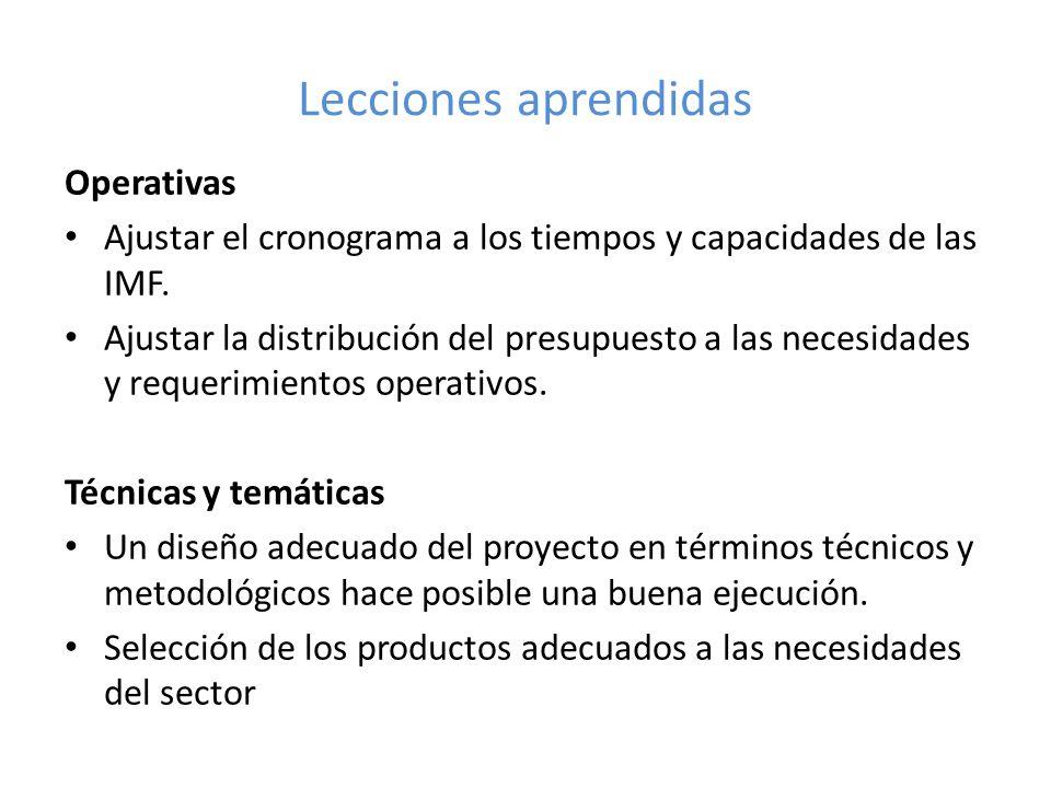Lecciones aprendidas Operativas Ajustar el cronograma a los tiempos y capacidades de las IMF. Ajustar la distribución del presupuesto a las necesidade