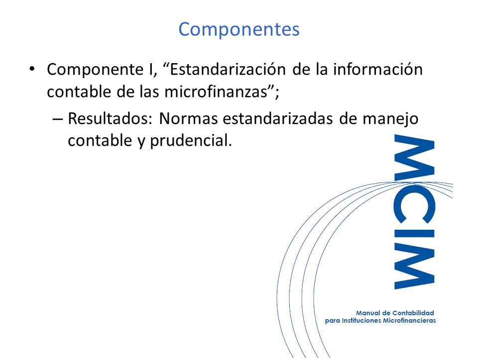 Componentes Componente I, Estandarización de la información contable de las microfinanzas; – Resultados: Normas estandarizadas de manejo contable y prudencial.