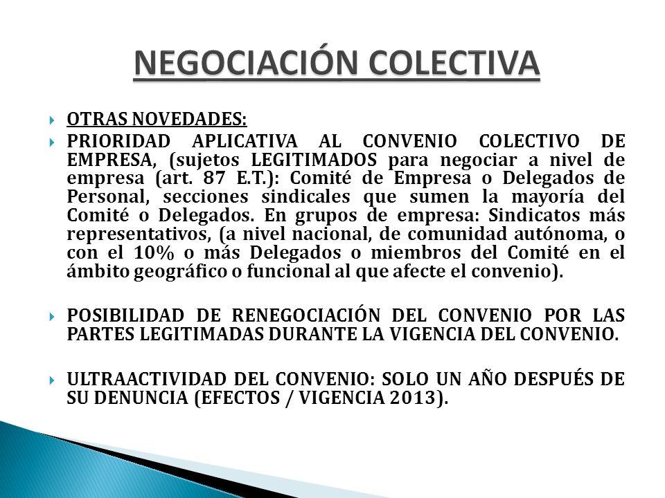 OTRAS NOVEDADES: PRIORIDAD APLICATIVA AL CONVENIO COLECTIVO DE EMPRESA, (sujetos LEGITIMADOS para negociar a nivel de empresa (art.
