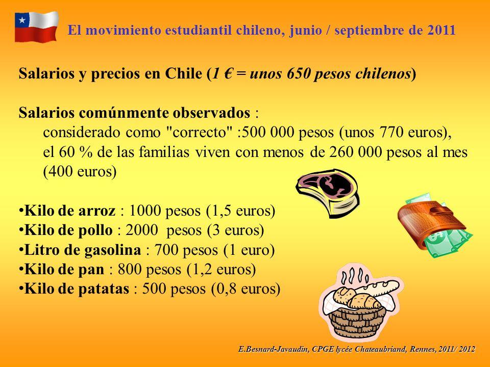 E.Besnard-Javaudin, CPGE lycée Chateaubriand, Rennes, 2011/ 2012 El movimiento estudiantil chileno, junio / septiembre de 2011 Salarios y precios en Chile (1 = unos 650 pesos chilenos) Salarios comúnmente observados : considerado como correcto :500 000 pesos (unos 770 euros), el 60 % de las familias viven con menos de 260 000 pesos al mes (400 euros) Kilo de arroz : 1000 pesos (1,5 euros) Kilo de pollo : 2000 pesos (3 euros) Litro de gasolina : 700 pesos (1 euro) Kilo de pan : 800 pesos (1,2 euros) Kilo de patatas : 500 pesos (0,8 euros)
