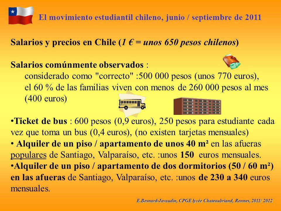 E.Besnard-Javaudin, CPGE lycée Chateaubriand, Rennes, 2011/ 2012 El movimiento estudiantil chileno, junio / septiembre de 2011 Salarios y precios en C