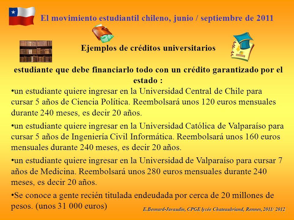 E.Besnard-Javaudin, CPGE lycée Chateaubriand, Rennes, 2011/ 2012 El movimiento estudiantil chileno, junio / septiembre de 2011 Ejemplos de créditos universitarios estudiante que debe financiarlo todo con un crédito garantizado por el estado : un estudiante quiere ingresar en la Universidad Central de Chile para cursar 5 años de Ciencia Política.