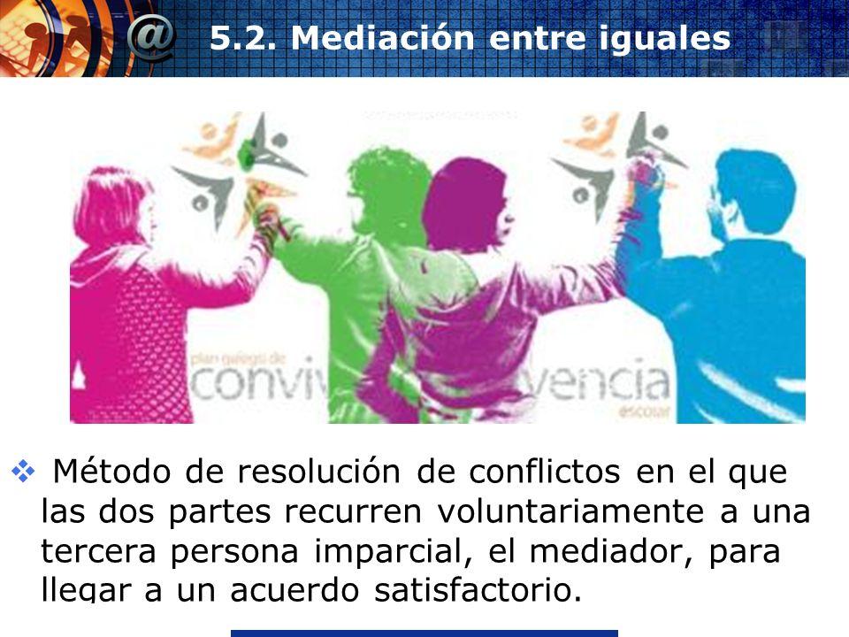 www.thmemgallery.comCompany Logo 5.2. Mediación entre iguales Método de resolución de conflictos en el que las dos partes recurren voluntariamente a u