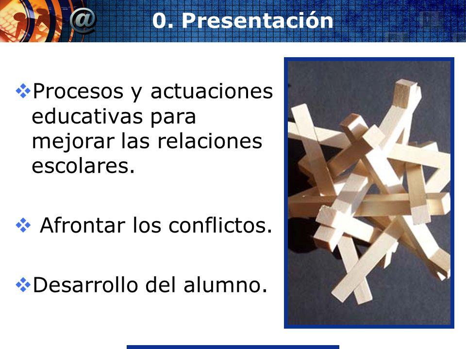 www.thmemgallery.comCompany Logo 0. Presentación Procesos y actuaciones educativas para mejorar las relaciones escolares. Afrontar los conflictos. Des