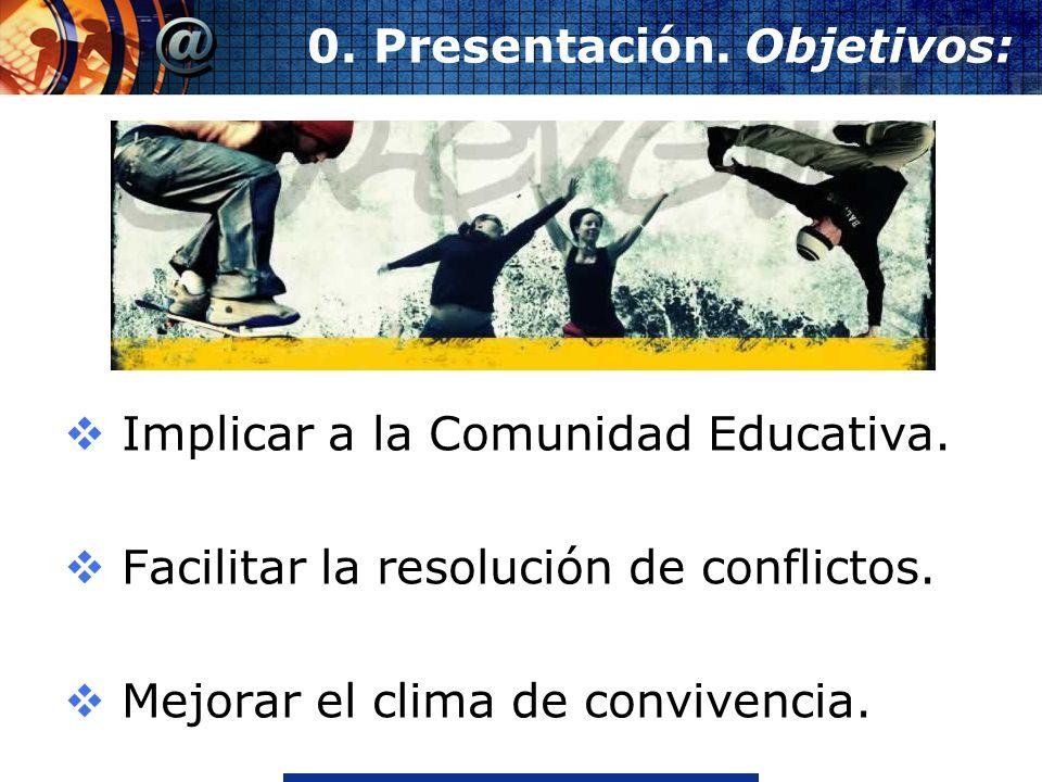 www.thmemgallery.comCompany Logo 0. Presentación. Objetivos: Implicar a la Comunidad Educativa. Facilitar la resolución de conflictos. Mejorar el clim