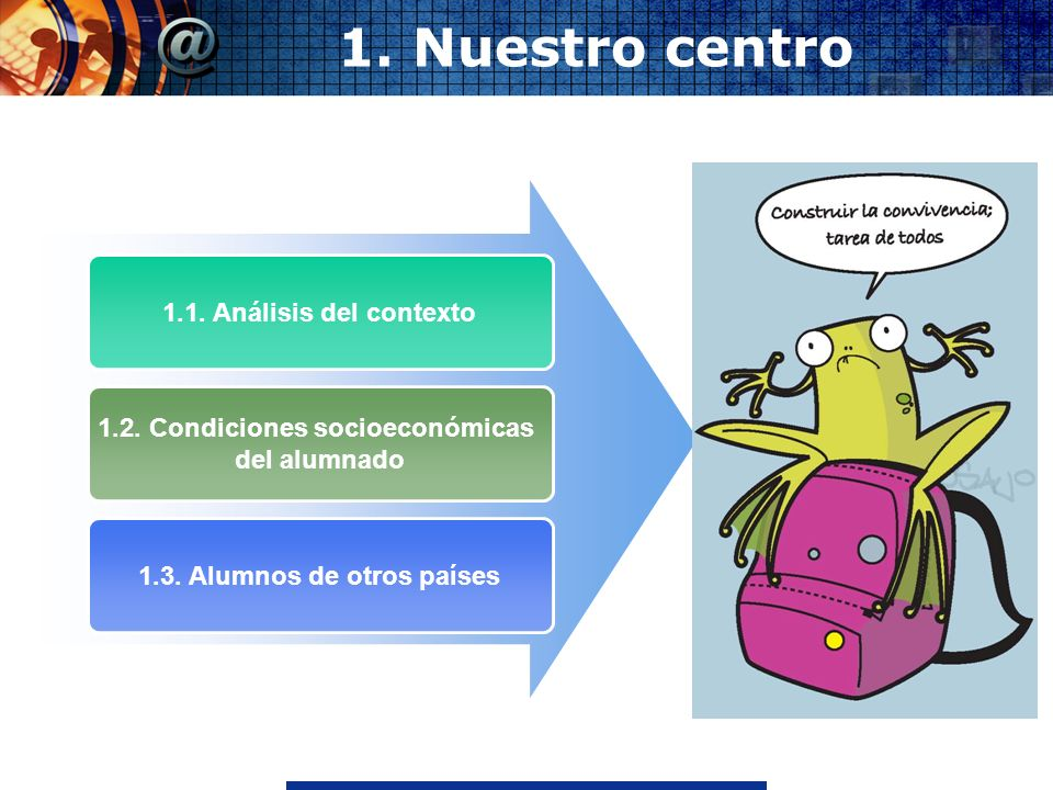 www.thmemgallery.comCompany Logo 1. Nuestro centro 1.1. Análisis del contexto 1.2. Condiciones socioeconómicas del alumnado 1.3. Alumnos de otros país