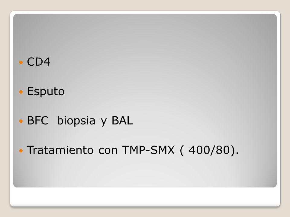 CD4 Esputo BFC biopsia y BAL Tratamiento con TMP-SMX ( 400/80).
