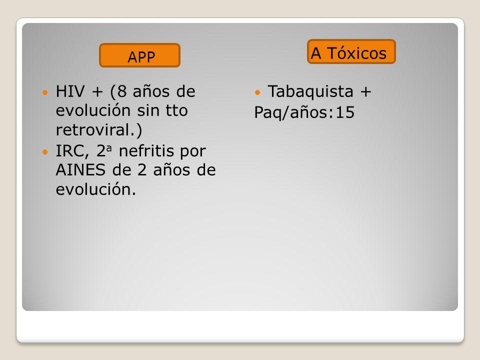 APP A Tóxicos HIV + (8 años de evolución sin tto retroviral.) IRC, 2 a nefritis por AINES de 2 años de evolución.