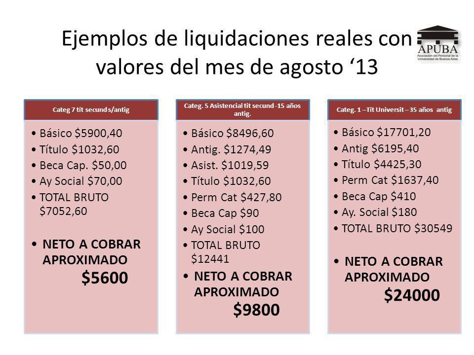 Ejemplos de liquidaciones reales con valores del mes de agosto 13