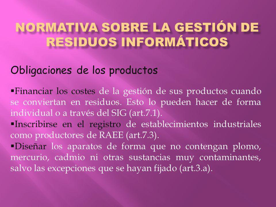 NORMATIVA SOBRE LA GESTIÓN DE RESIDUOS INFORMÁTICOS Obligaciones de los productos Financiar los costes de la gestión de sus productos cuando se conviertan en residuos.