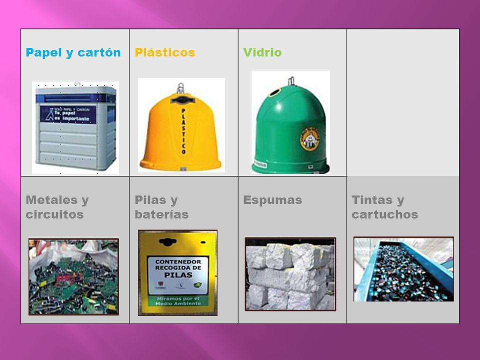Papel y cartónPlásticosVidrio Metales y circuitos Pilas y baterías EspumasTintas y cartuchos