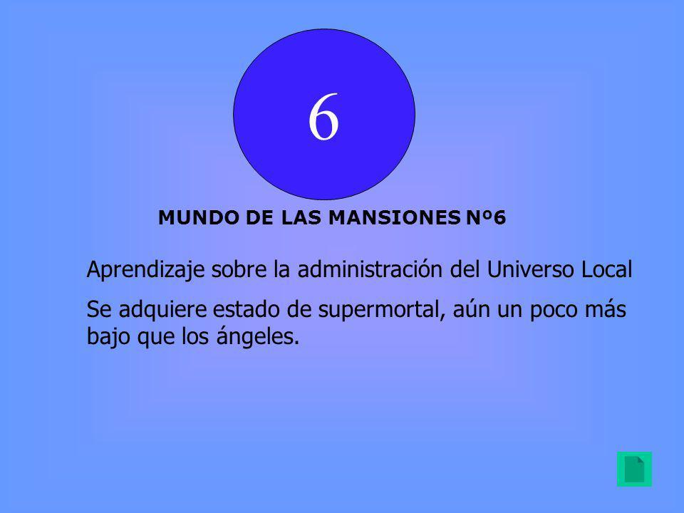 6 MUNDO DE LAS MANSIONES Nº6 Aprendizaje sobre la administración del Universo Local Se adquiere estado de supermortal, aún un poco más bajo que los ángeles.