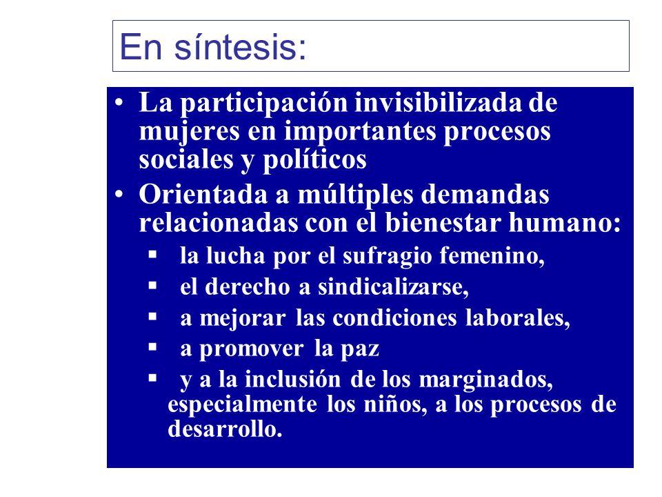 En síntesis: La participación invisibilizada de mujeres en importantes procesos sociales y políticos Orientada a múltiples demandas relacionadas con e