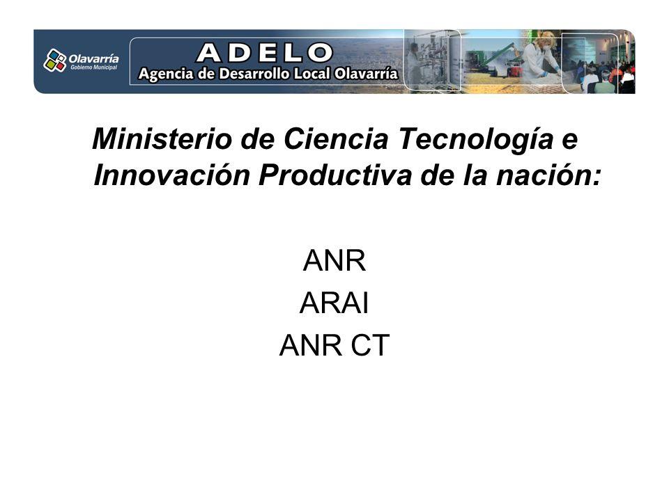 Ministerio de Ciencia Tecnología e Innovación Productiva de la nación: ANR ARAI ANR CT