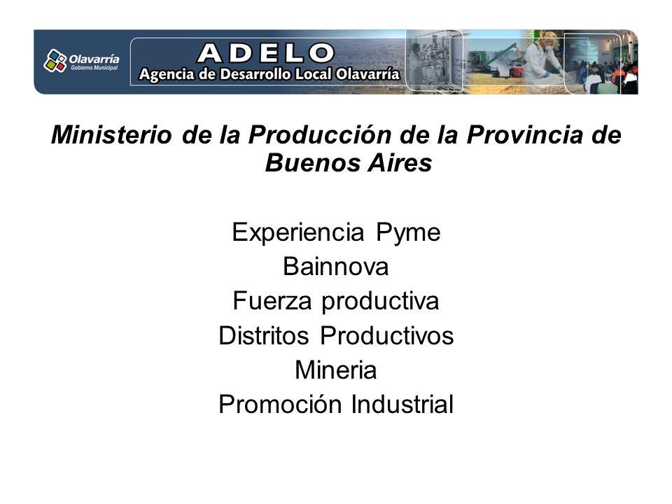 Ministerio de la Producción de la Provincia de Buenos Aires Experiencia Pyme Bainnova Fuerza productiva Distritos Productivos Mineria Promoción Industrial