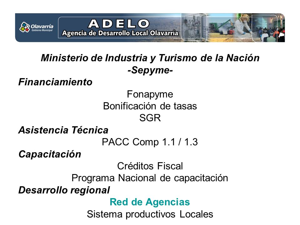 Ministerio de Industria y Turismo de la Nación -Sepyme- Financiamiento Fonapyme Bonificación de tasas SGR Asistencia Técnica PACC Comp 1.1 / 1.3 Capacitación Créditos Fiscal Programa Nacional de capacitación Desarrollo regional Red de Agencias Sistema productivos Locales
