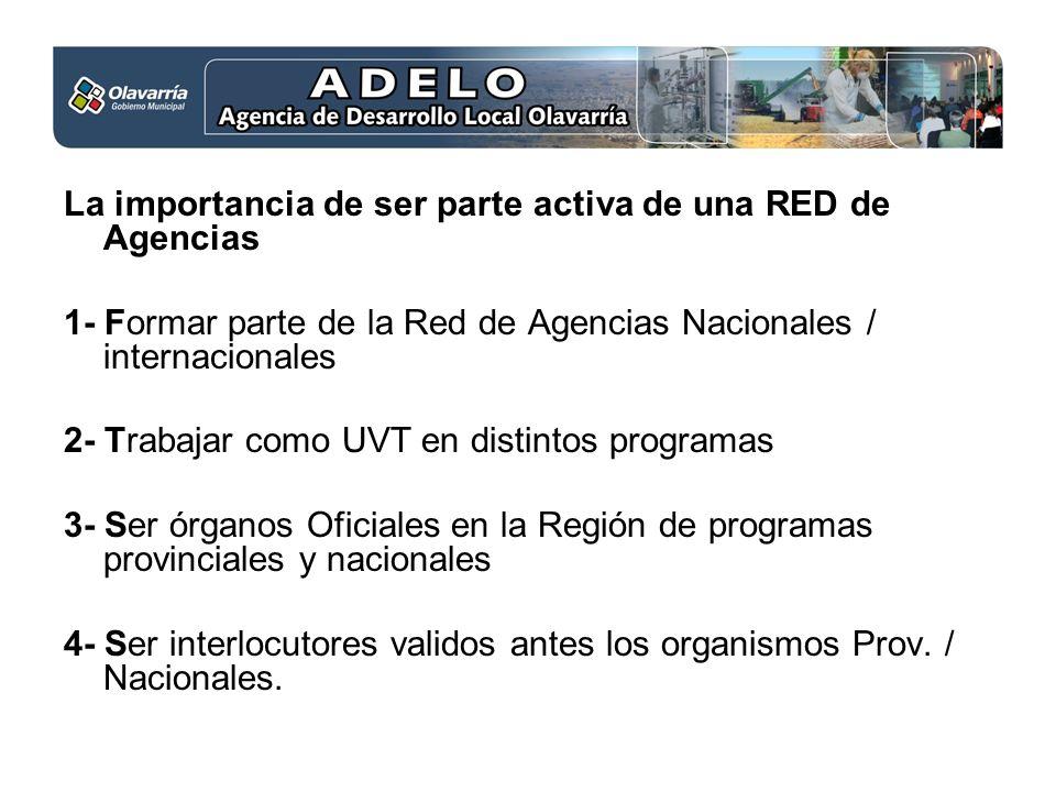 La importancia de ser parte activa de una RED de Agencias 1- Formar parte de la Red de Agencias Nacionales / internacionales 2- Trabajar como UVT en d