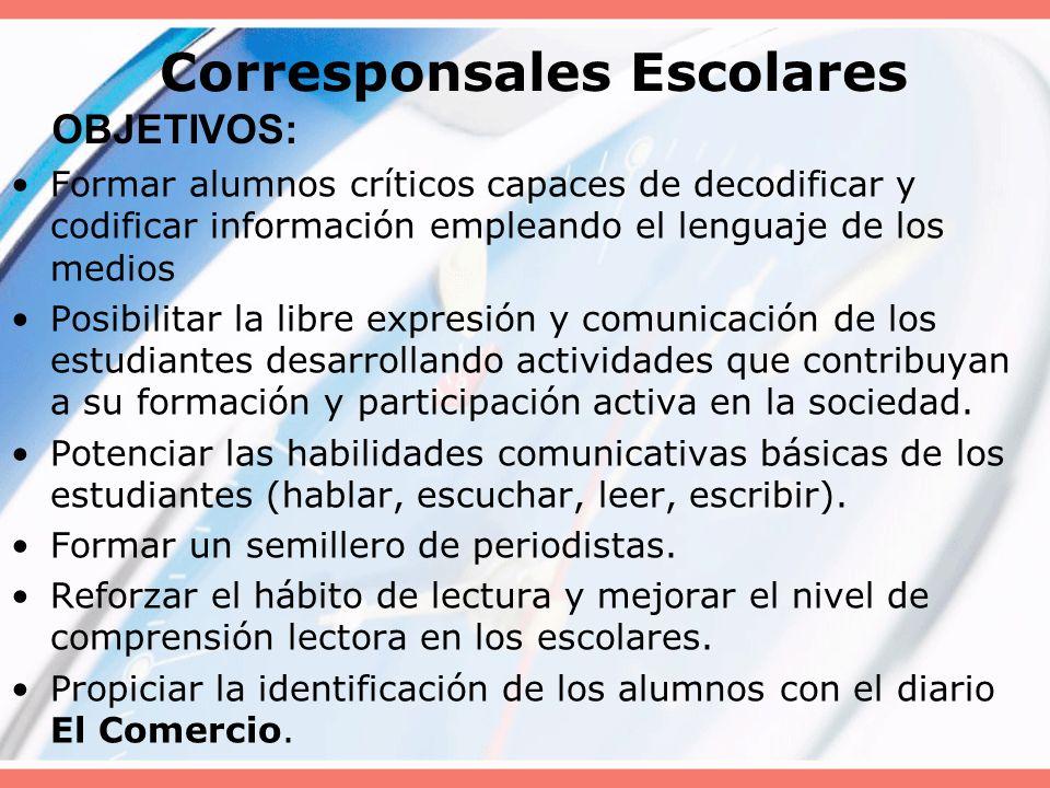 El Comercio en la escuela Proyecto educativo desarrollado por el diario El Comercio que capacita a docentes y alumnos en cuanto al lenguaje periodísti