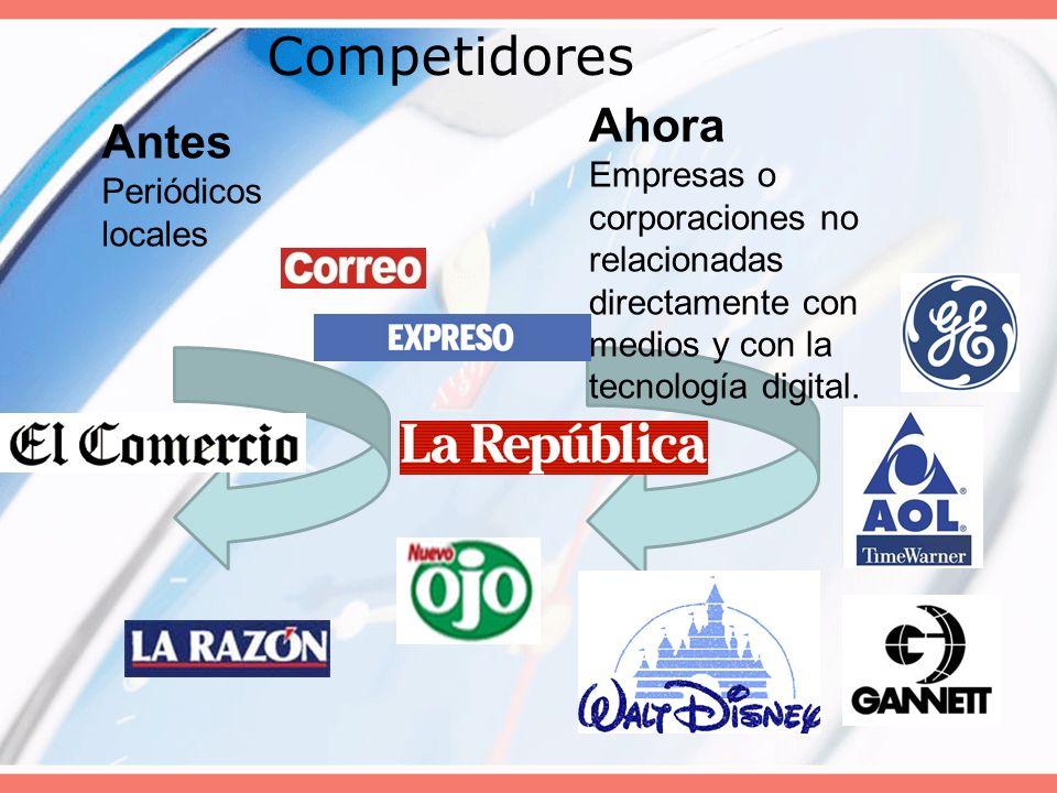 Competidores Antes Periódicos locales Ahora Empresas o corporaciones no relacionadas directamente con medios y con la tecnología digital.