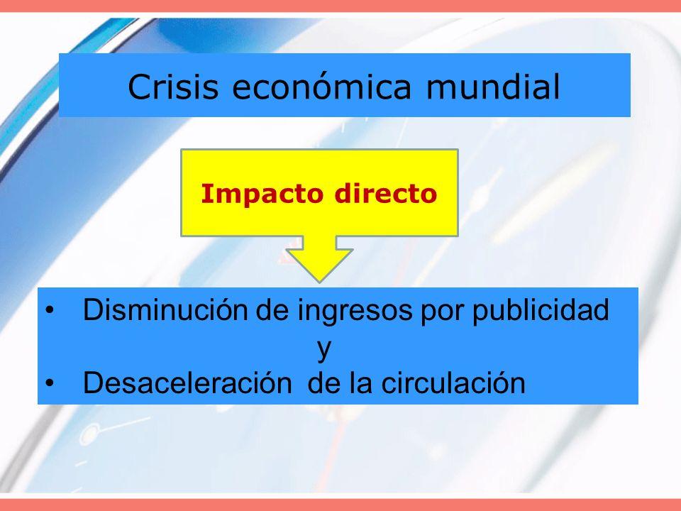 Crisis económica mundial Disminución de ingresos por publicidad y Desaceleración de la circulación Impacto directo