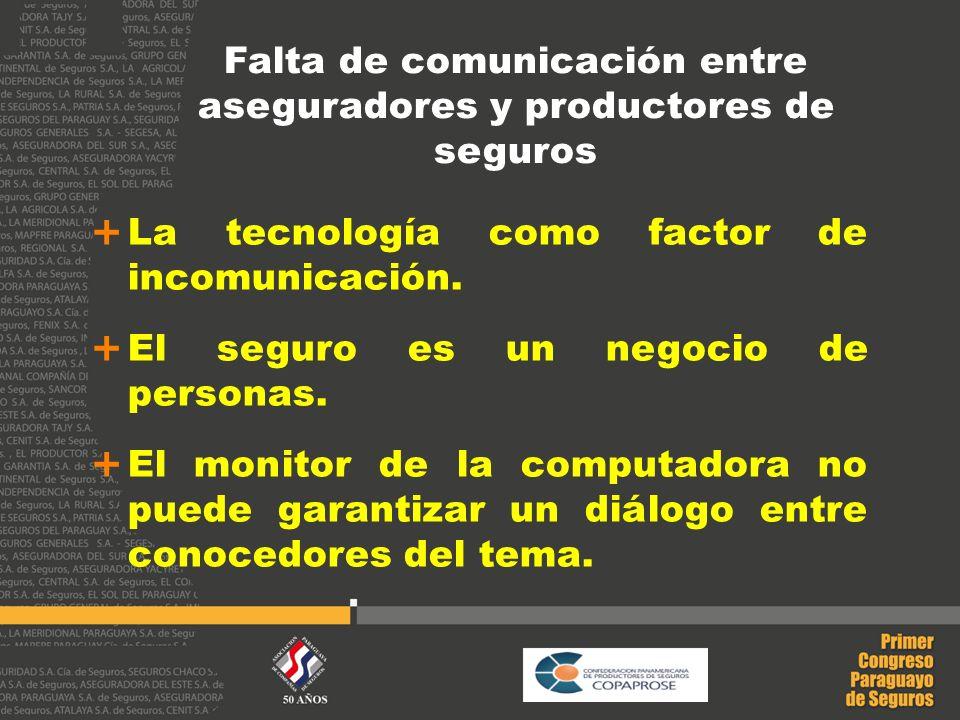 Falta de comunicación entre aseguradores y productores de seguros La tecnología como factor de incomunicación. El seguro es un negocio de personas. El