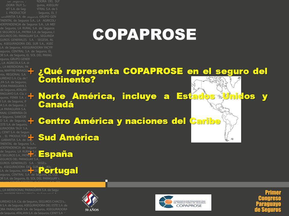 ¿Qué representa COPAPROSE en el seguro del Continente? ¿Qué representa COPAPROSE en el seguro del Continente? Norte América, incluye a Estados Unidos