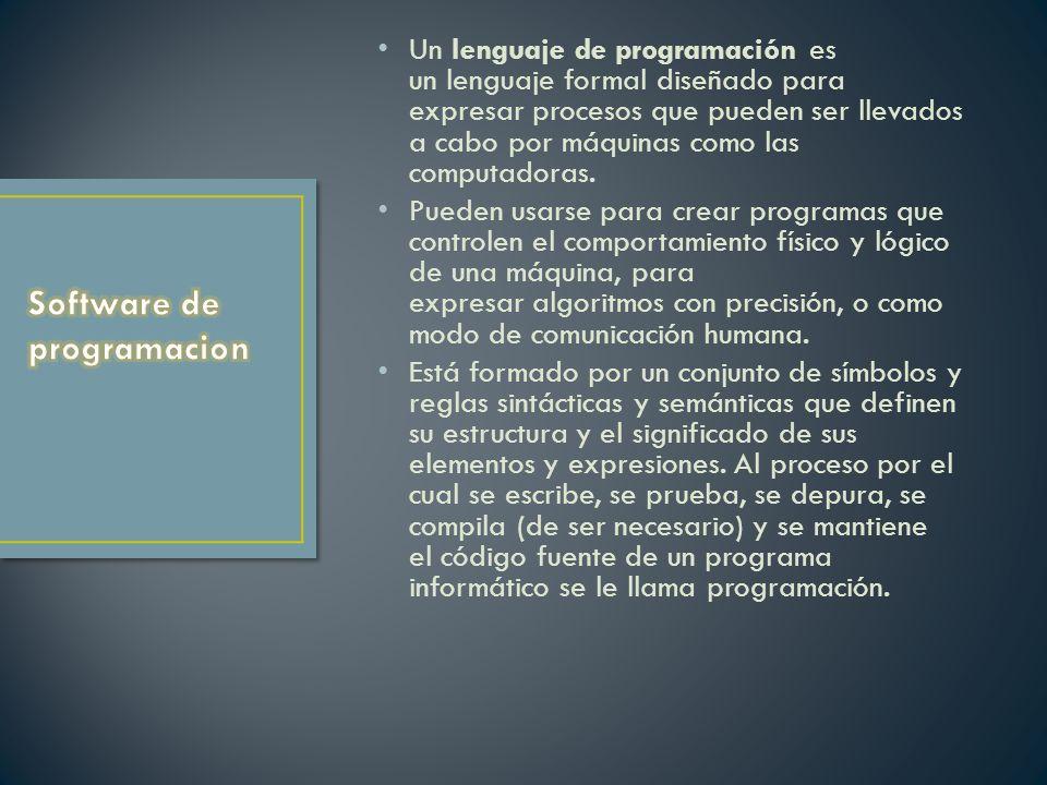 Un lenguaje de programación es un lenguaje formal diseñado para expresar procesos que pueden ser llevados a cabo por máquinas como las computadoras.