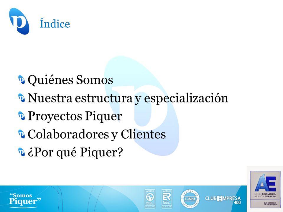 Índice Quiénes Somos Nuestra estructura y especialización Proyectos Piquer Colaboradores y Clientes ¿Por qué Piquer?