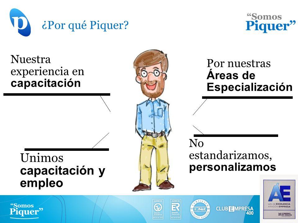 ¿Por qué Piquer? Unimos capacitación y empleo Por nuestras Áreas de Especialización Nuestra experiencia en capacitación No estandarizamos, personaliza