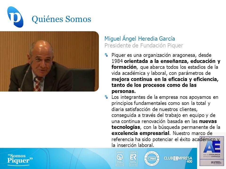 Quiénes Somos Miguel Ángel Heredia García Presidente de Fundación Piquer Piquer es una organización aragonesa, desde 1984 orientada a la enseñanza, ed