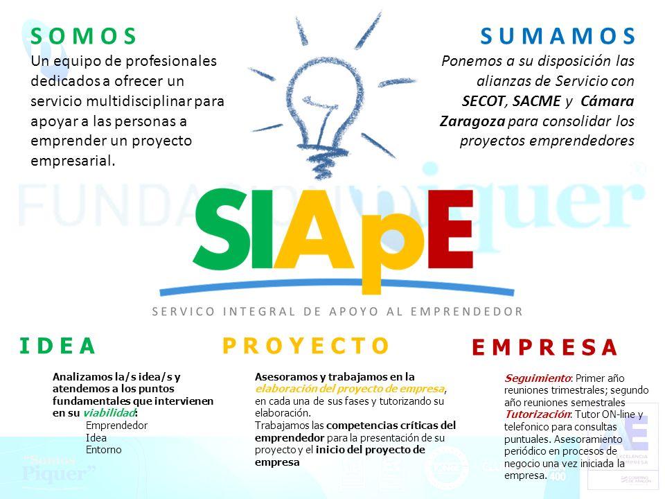 Proyectos Piquer S U M A M O S Ponemos a su disposición las alianzas de Servicio con SECOT, SACME y Cámara Zaragoza para consolidar los proyectos empr