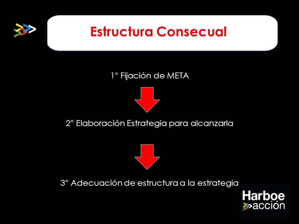 Estructura consecuencial 1° Fijación de META 2° Elaboración Estrategia para alcanzarla 3° Adecuación de estructura a la estrategia Estructura Consecua