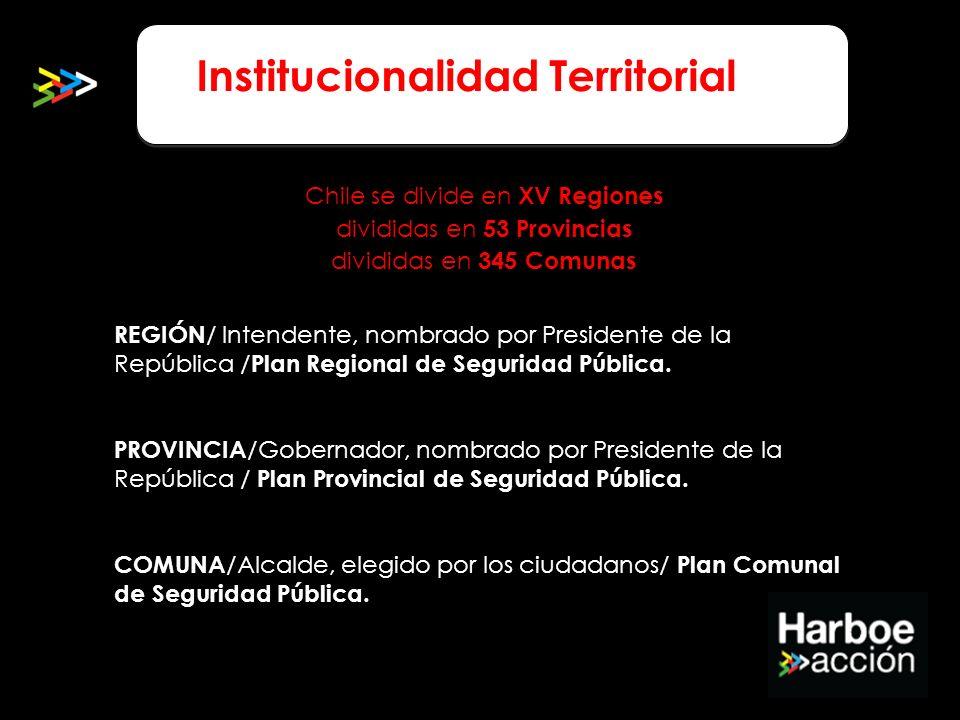Chile se divide en XV Regiones divididas en 53 Provincias divididas en 345 Comunas REGIÓN / Intendente, nombrado por Presidente de la República / Plan