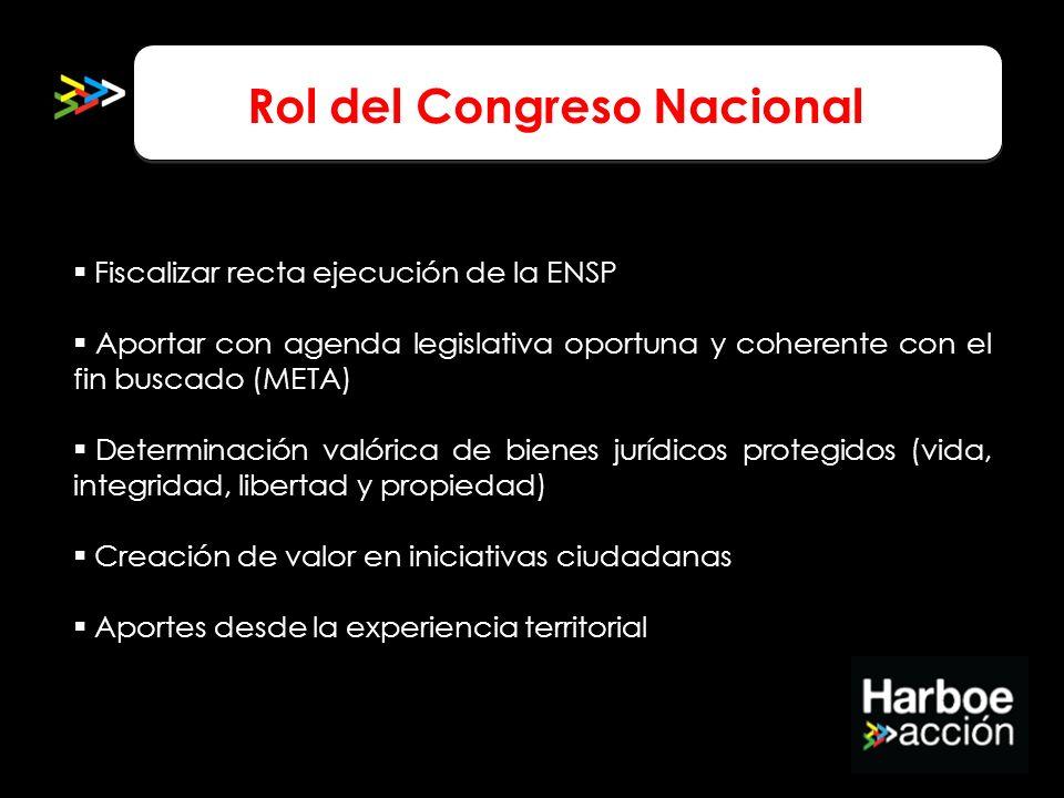 Rol del Congreso Nacional Fiscalizar recta ejecución de la ENSP Aportar con agenda legislativa oportuna y coherente con el fin buscado (META) Determin