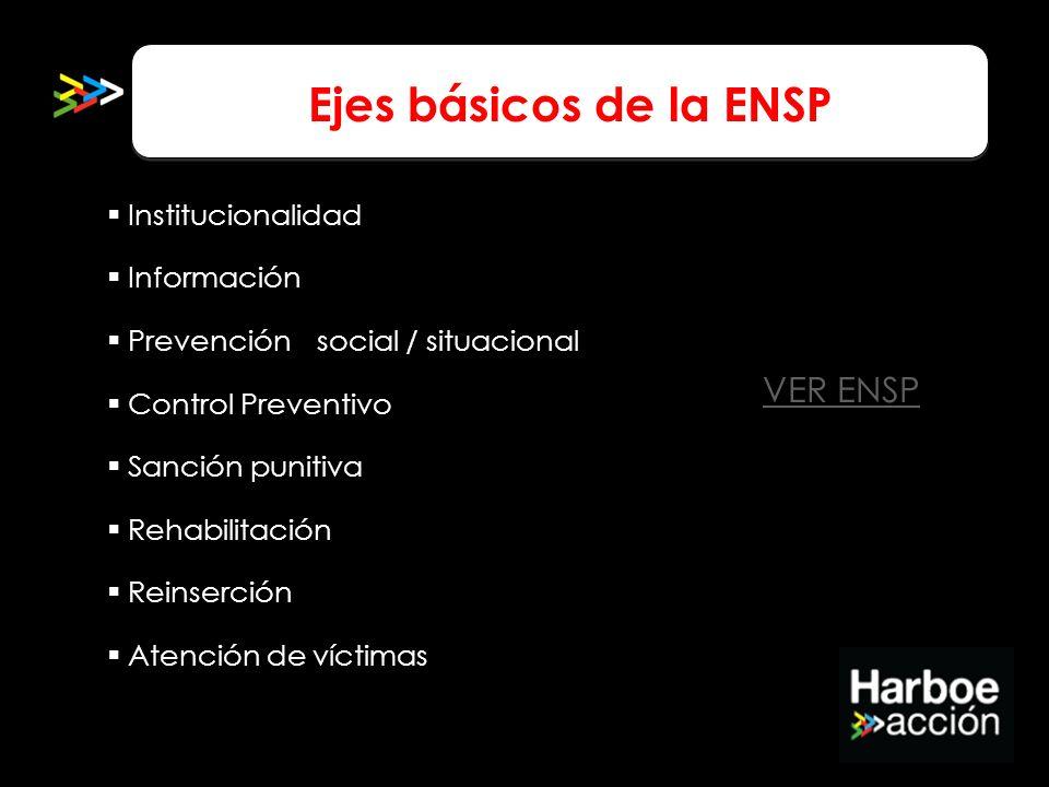 Ejes básicos de la ENSP Institucionalidad Información Prevención social / situacional Control Preventivo Sanción punitiva Rehabilitación Reinserción A