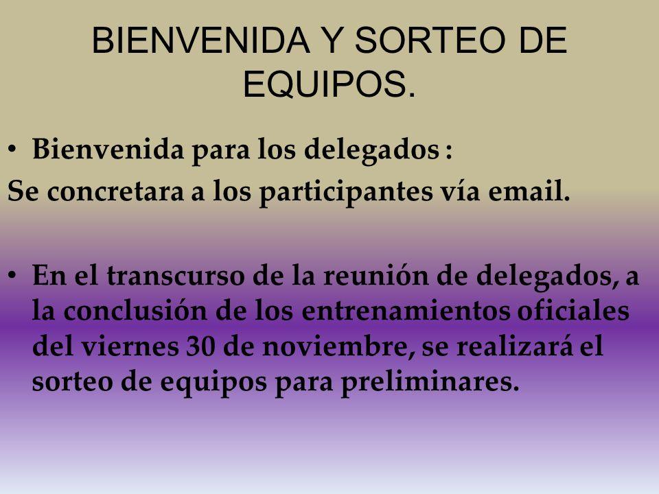 BIENVENIDA Y SORTEO DE EQUIPOS.