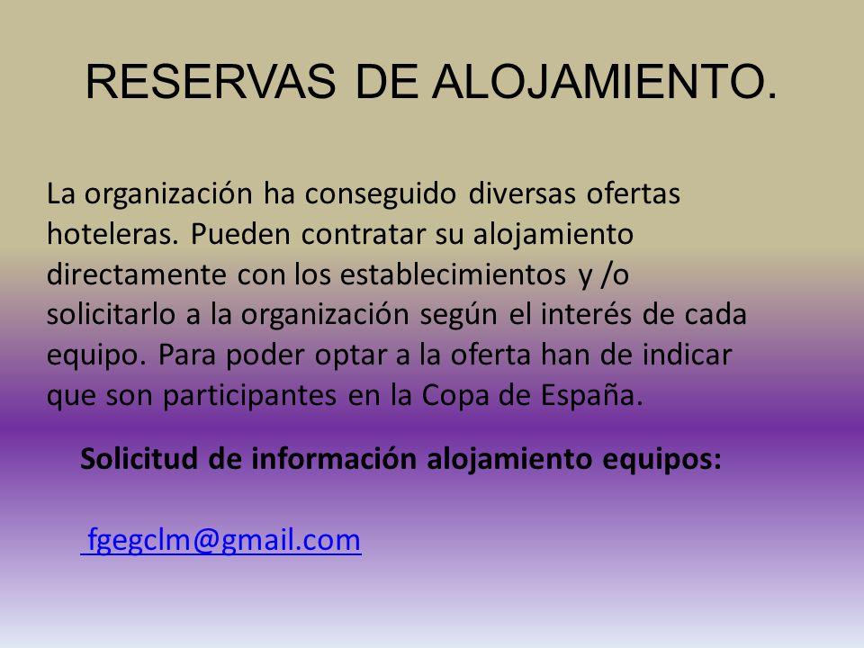 RESERVAS DE ALOJAMIENTO. La organización ha conseguido diversas ofertas hoteleras.