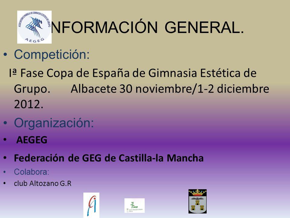 INFORMACIÓN GENERAL. Competición: Iª Fase Copa de España de Gimnasia Estética de Grupo.