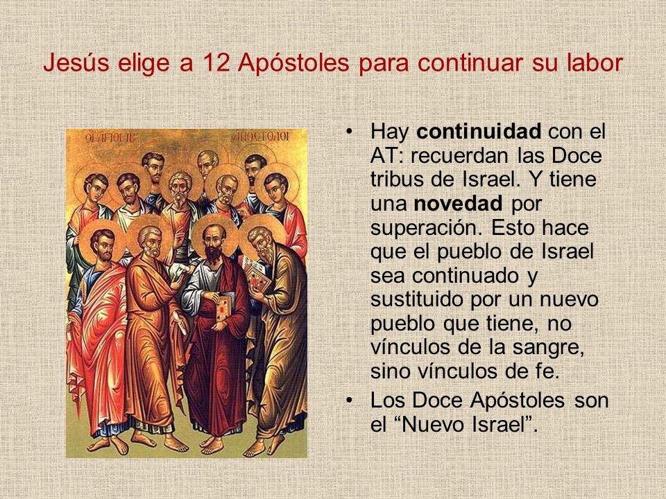 Jesús elige a 12 Apóstoles para continuar su labor Hay continuidad con el AT: recuerdan las Doce tribus de Israel. Y tiene una novedad por superación.