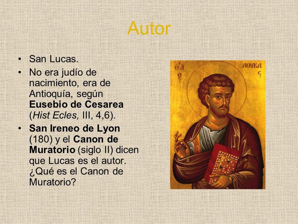 Autor San Lucas. No era judío de nacimiento, era de Antioquía, según Eusebio de Cesarea (Hist Ecles, III, 4,6). San Ireneo de Lyon (180) y el Canon de