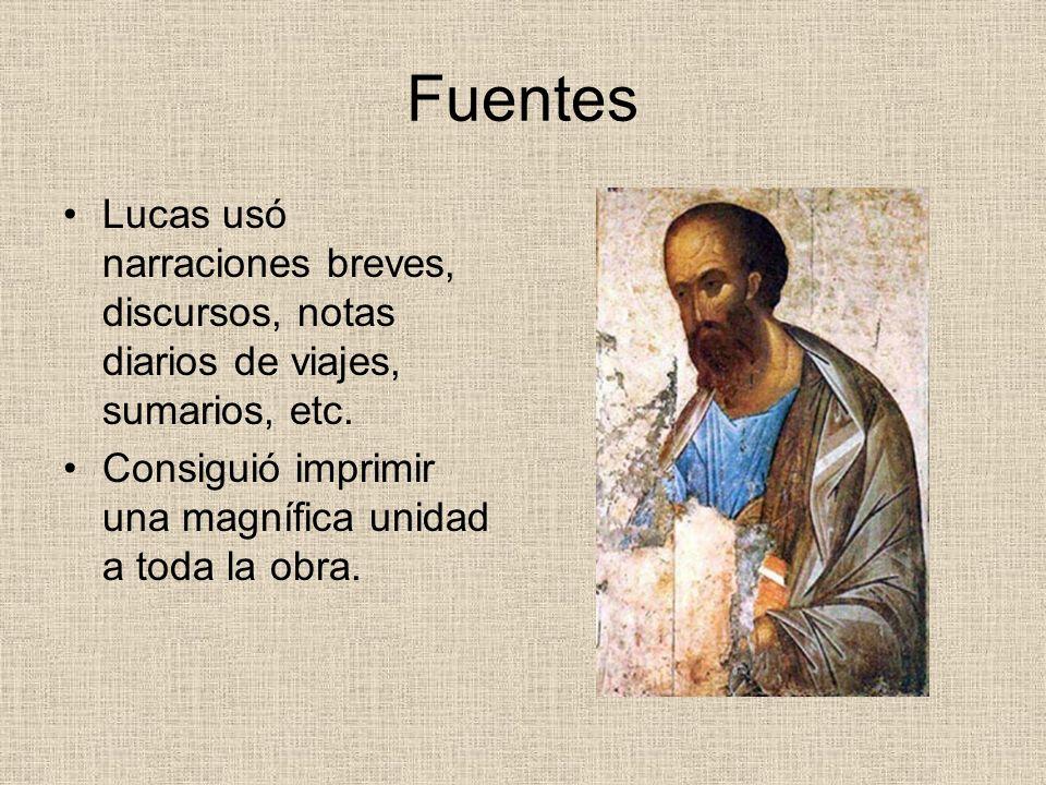Fuentes Lucas usó narraciones breves, discursos, notas diarios de viajes, sumarios, etc. Consiguió imprimir una magnífica unidad a toda la obra.