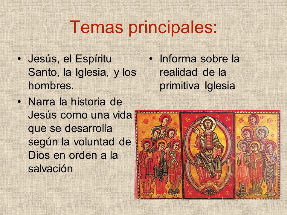 Temas principales: Jesús, el Espíritu Santo, la Iglesia, y los hombres. Narra la historia de Jesús como una vida que se desarrolla según la voluntad d