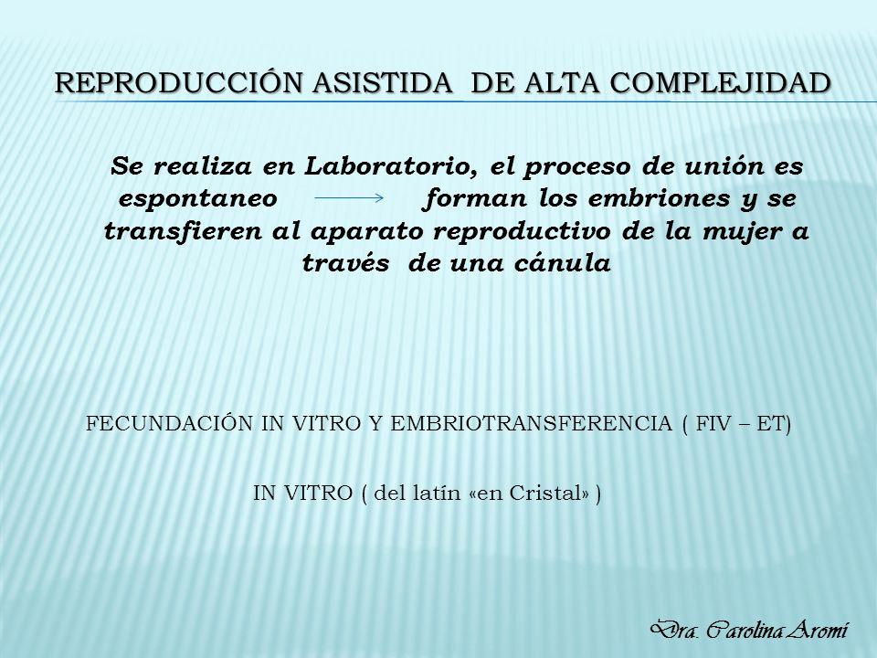 FECUNDACIÓN IN VITRO Y EMBRIOTRANSFERENCIA ( FIV – ET) Se realiza en Laboratorio, el proceso de unión es espontaneo forman los embriones y se transfie