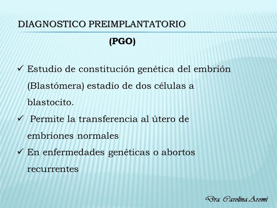 DIAGNOSTICO PREIMPLANTATORIO Estudio de constitución genética del embrión (Blastómera) estadío de dos células a blastocito. Permite la transferencia a